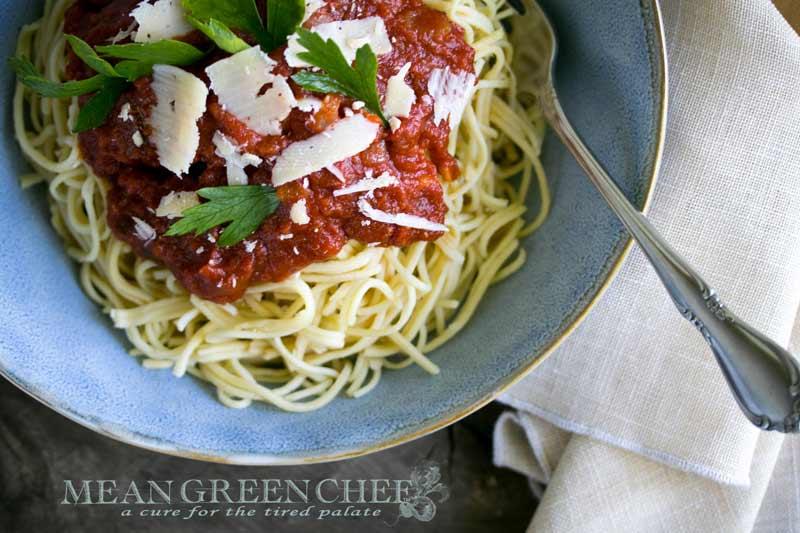 Spaghetti + Red Sauce Recipe | Mean Green Chef