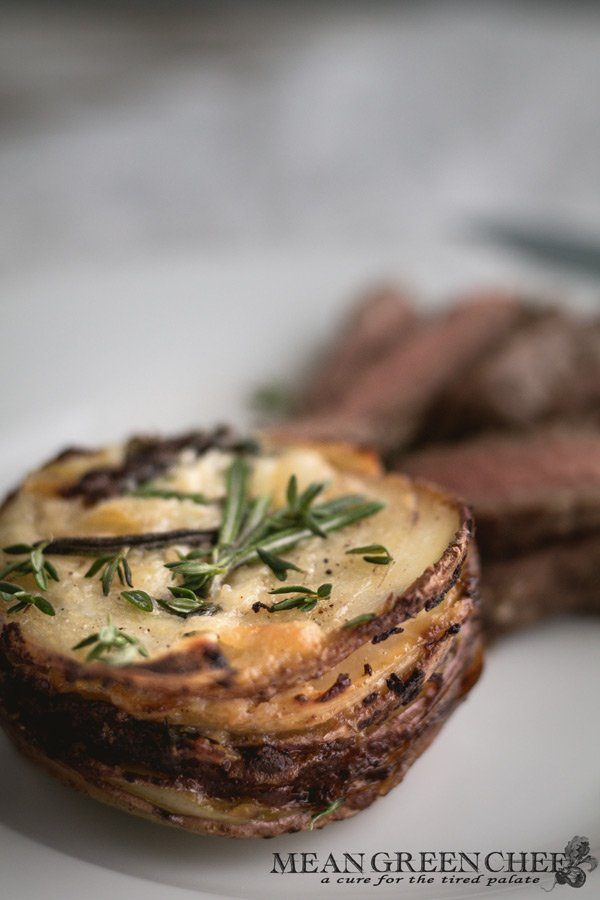 Steakhouse Potato Stacks with Rosemary Recipe | Mean Green Chef