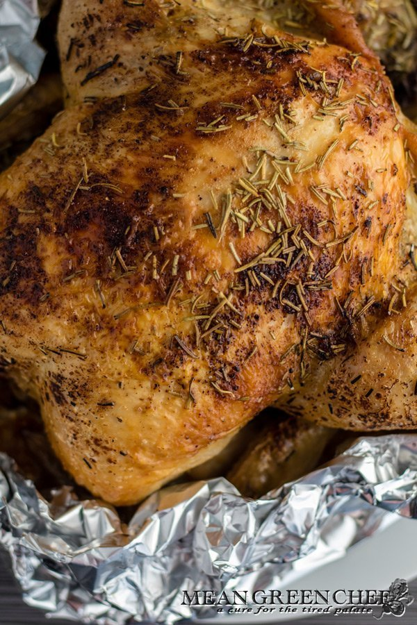Roast Chicken for Double Crust Chicken Pot Pies sitting in heavy-duty aluminum foil. Mean Green Chef