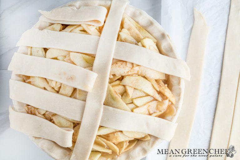 Caramel apple pie with lattice work