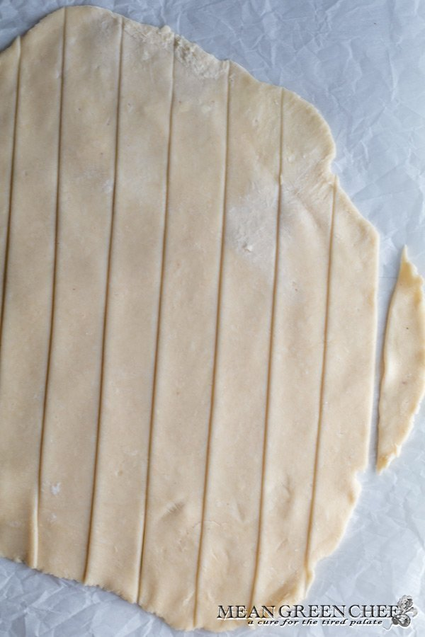 Sliced pastry dough, cut for making a lattice pie crust. Mean Green Chef