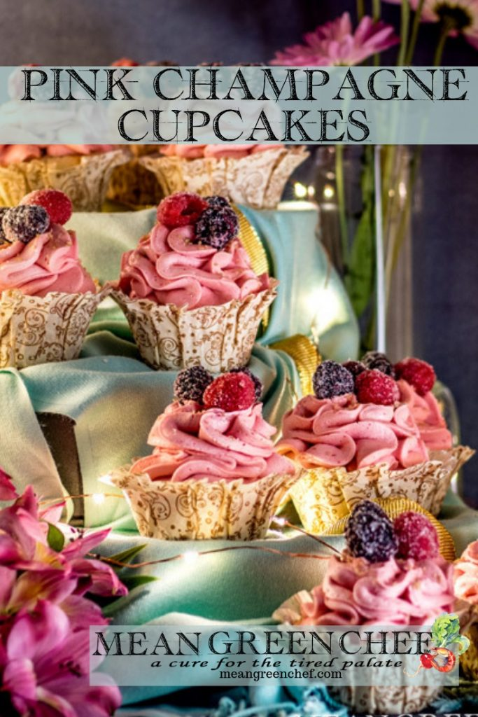 Side photo of Pink Champagne Cupcakes with Raspberry Buttercream