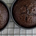 Overhead shot of freshly baked Guinness Chocolate Cakes fresh from the oven.