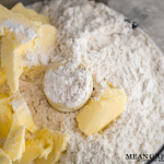 Butter, sugar and flour in the food processor for topping Raspberry Coffee Cake.