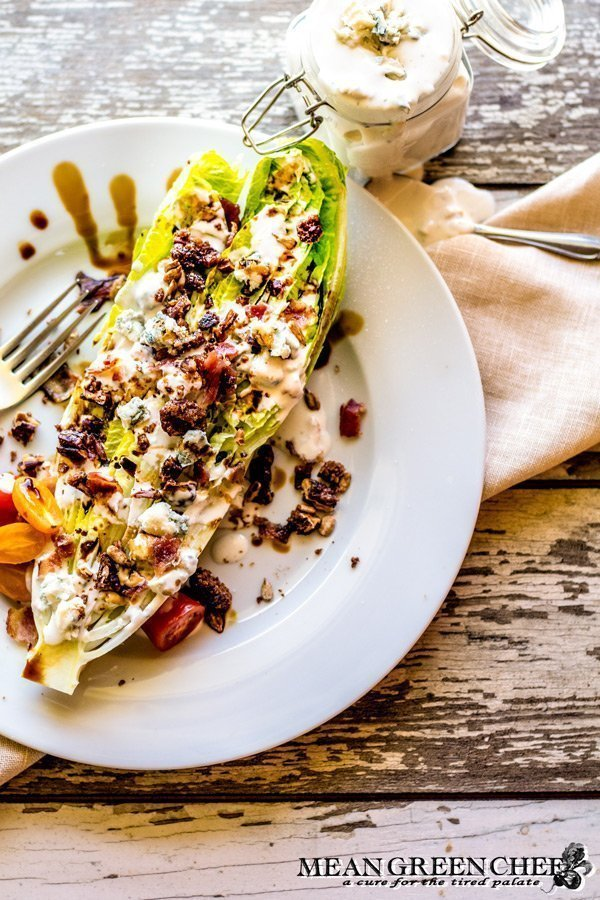 Romaine Blue Cheese Wedge Salad with bacon and balsamic reduction.