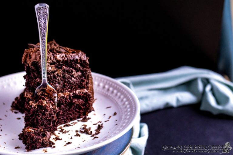 Chocolate Storm Cake with a fork through the tender cake.