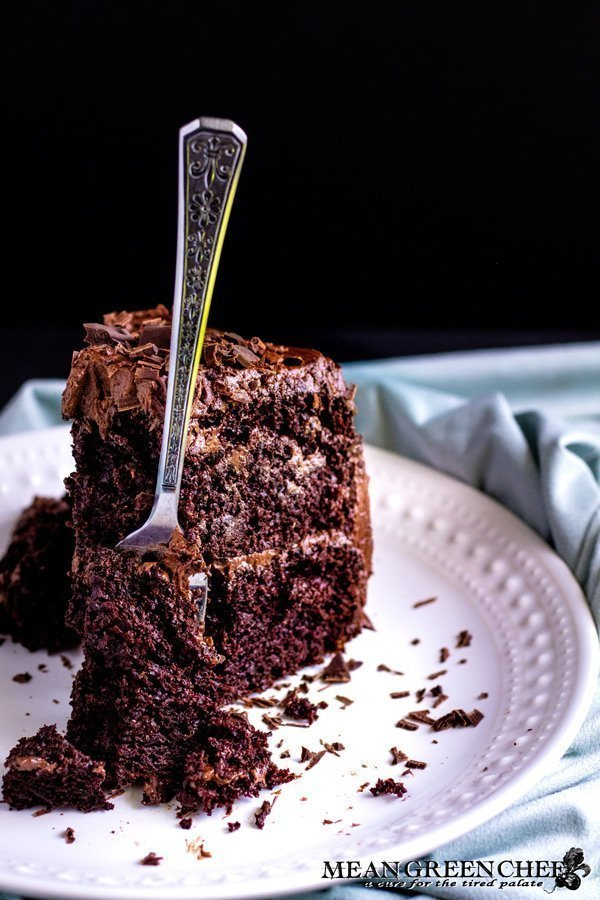 Fork in a slice of Chocolate Storm Cake.