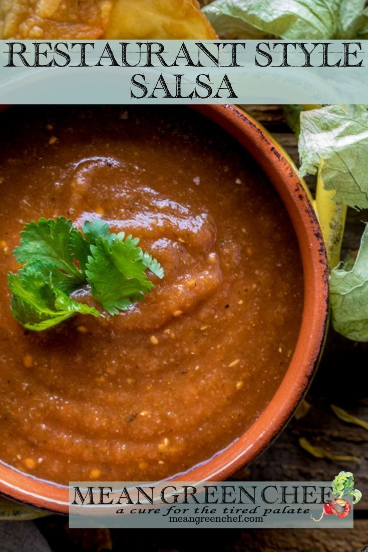 Restaurant Style Salsa Recipe with freshly made tortilla chips to the left hand side.