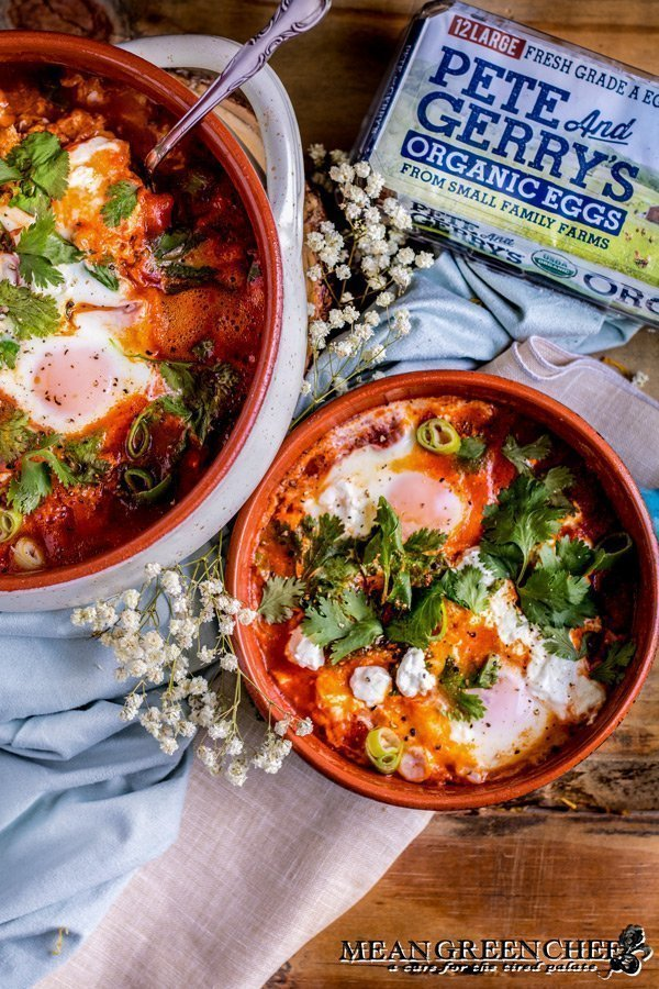 Shakshuka with goat cheese made with Pete and Gerry's Organic Eggs.