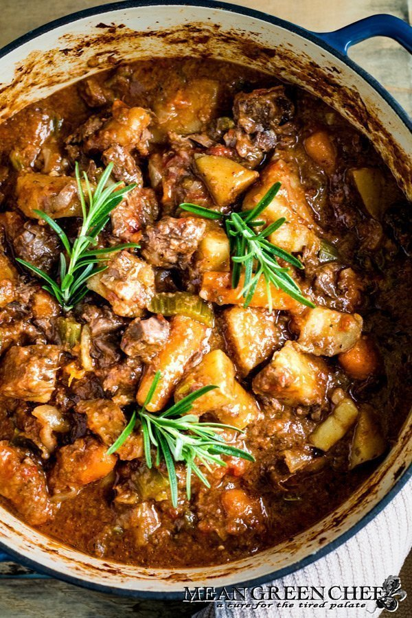 Old Fashioned Beef Stew in a Dutch Oven.