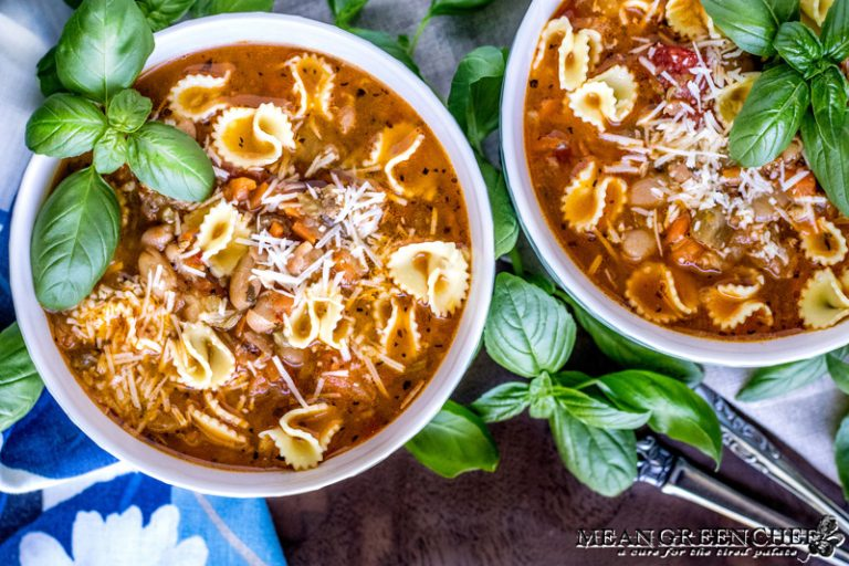 Two bowls of Pasta e Fagioli