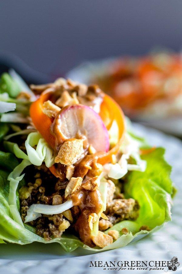 Best Thai Lettuce Wraps close up.